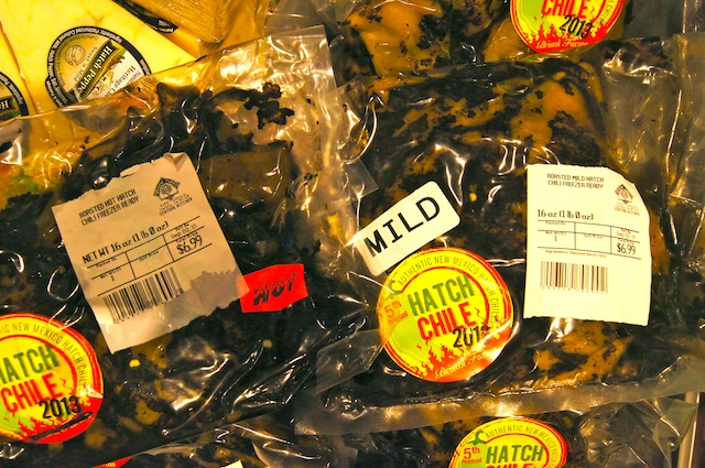 Roasted Hatch Chiles in labeled bags.