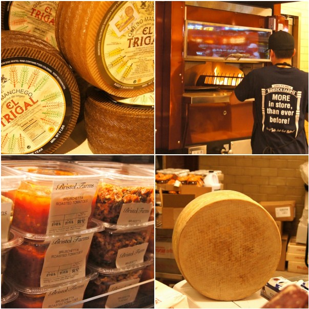 Various pictures of cheeses and nuts at Bristol Farms in Santa Monica.