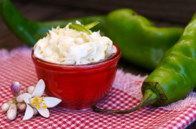 Hatch Chile-Agave Compound Butter in a small red bowl.
