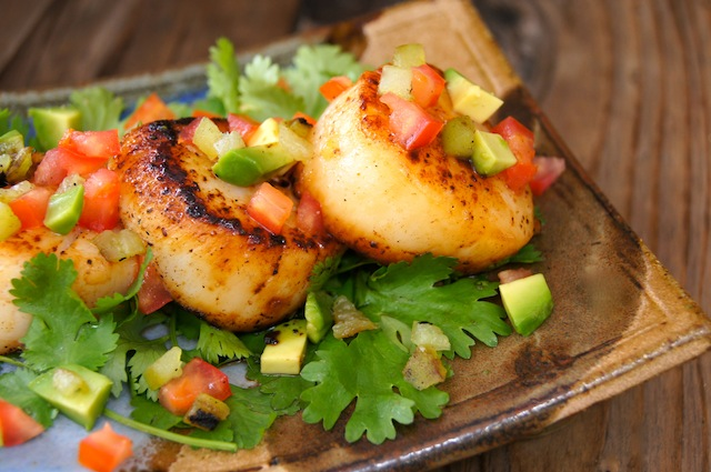 Roasted Hatch Chile Seared Scallops