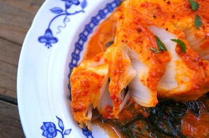 Patagonian Toothfish in Sweet Red Pepper-Spinach Sauce  | Cooking On The Weekends