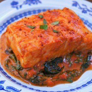 Patagonian Toothfish in Sweet Red Pepper-Spinach Sauce