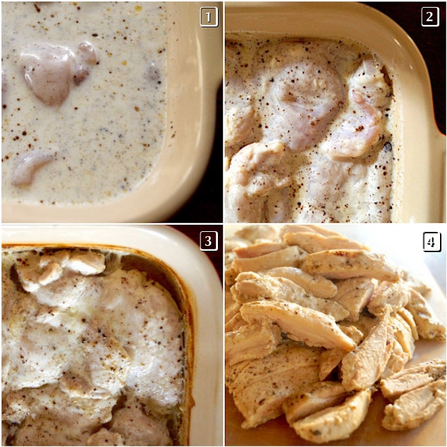 four photo grid of different stages of buttermilk chicken for pot pie