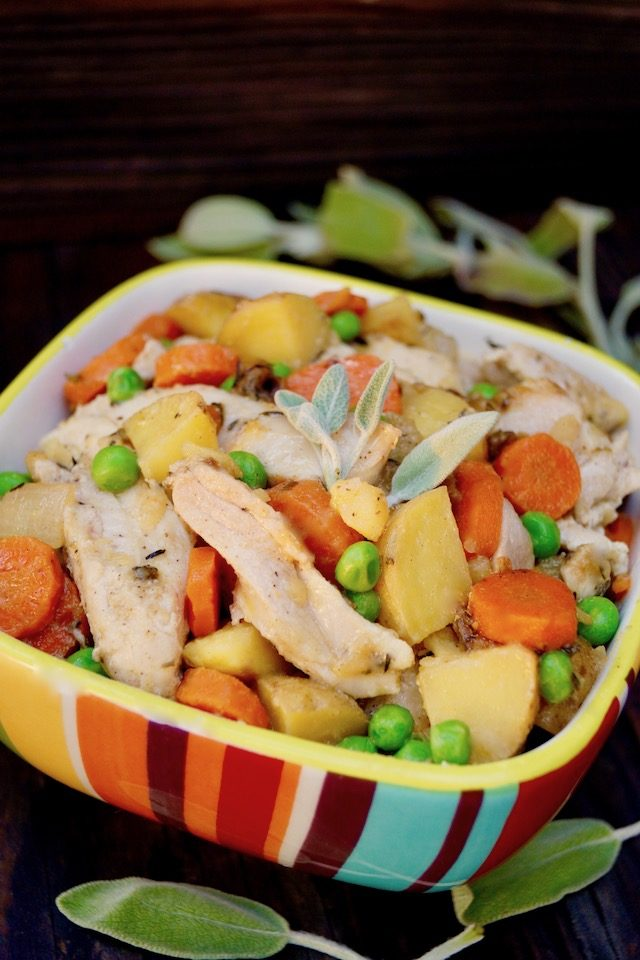 Crustless Chicken Pot Pie in colorful striped bowl