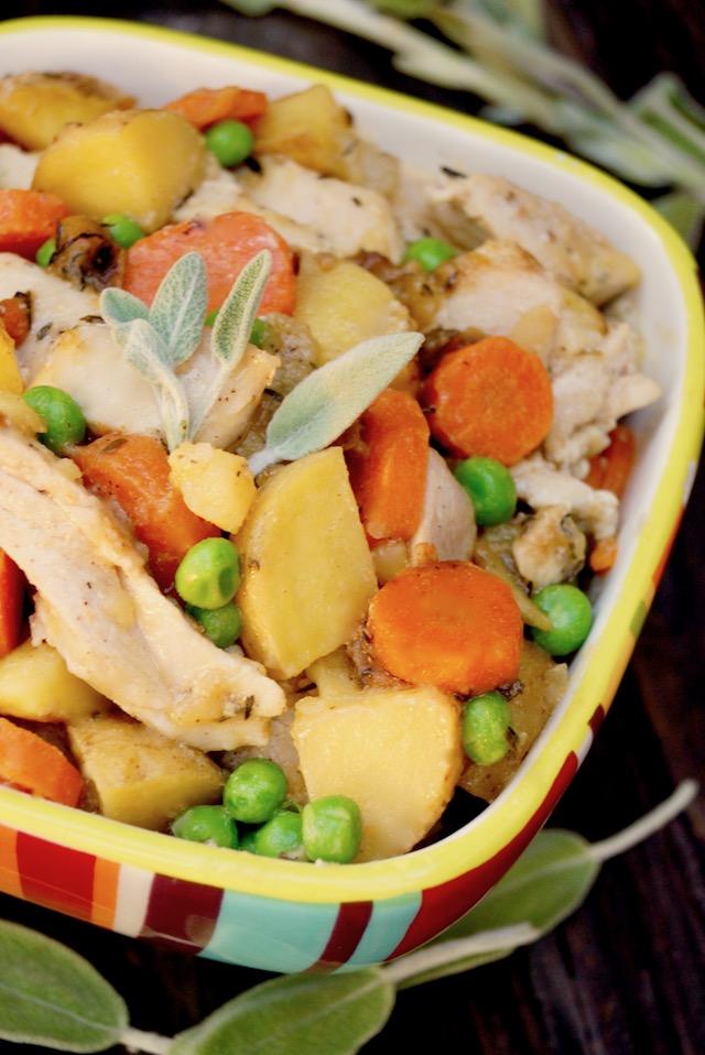 Top view of Crustless Chicken Pot Pie in striped bowl
