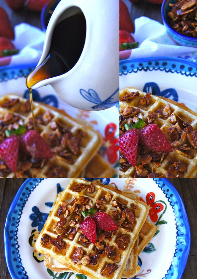 Gluten-Free-Buttermilk-Banana Waffle Recipe and Cinnamon-Honey-Almonds on a floral plate with blue trim and syrup being poured