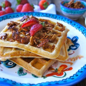Gluten-Free Buttermilk-Banana Waffle Recipe and Cinnamon-Honey Almonds