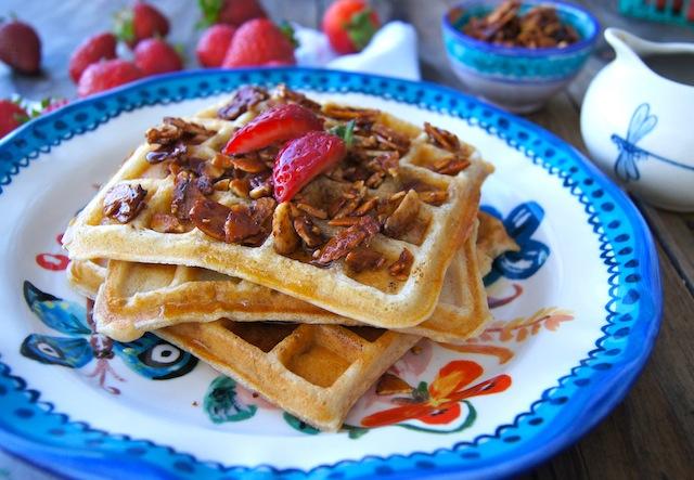 Buttermilk-Banana Waffles and Cinnamon-Honey Almonds