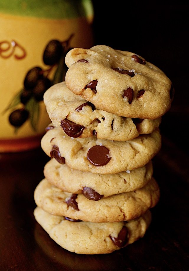tall stack of olive oil chocolate chip cookies