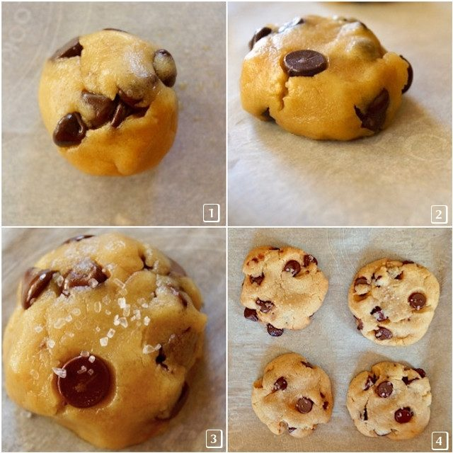 Four photo grid of olive oil chocolate chip cookie dough in stages