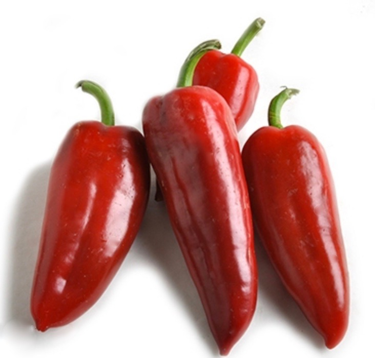 4 bright red Kapia peppers on a white background