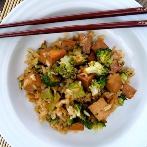 A One-Pan-Meal! Soy and Honey Glazed Tofu, Broccoli and Rice