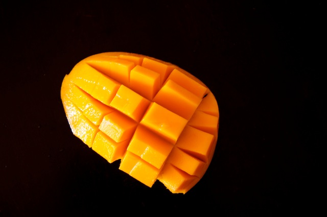 Diced mango in its skin