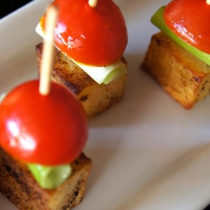 Smoky Potato-Pickled Tomato Bites