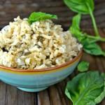 Roasted Garlic-Basil Brown Rice in mint green ceramic bowl