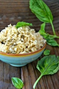 Roasted Garlic-Basil Brown Rice in mint green ceramic bowl