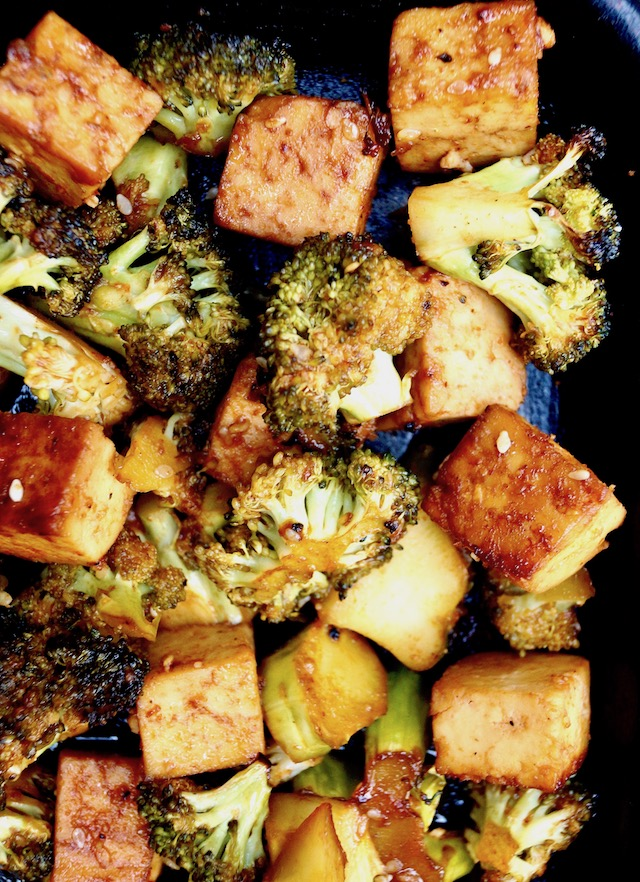 Roasted Sesame Sriracha Honey Tofu Broccoli on a sheet pan