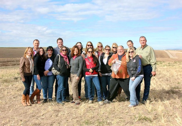 group of food bloggers in field in Idaho