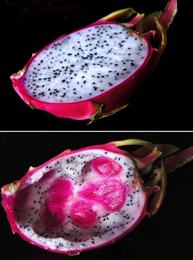 One half of a white Dragon Fruit and one half hollowed out.