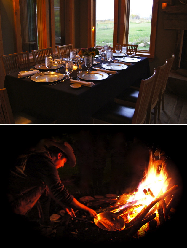 dining room and outdoor fire pit at Linn ranch in Idaho