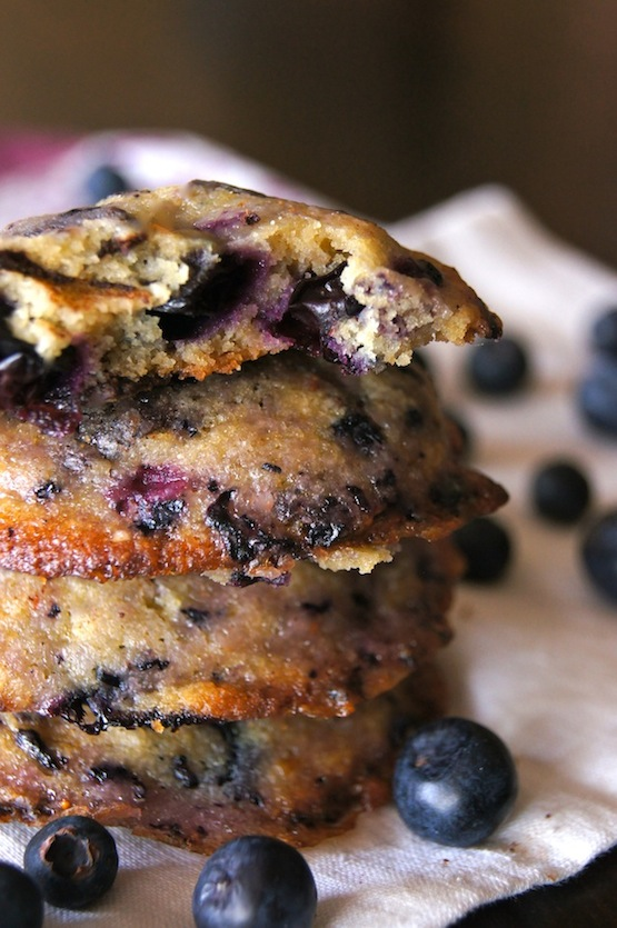 stack Blueberry Chocoalte Chunk Glazed Cookies with top one broken in half