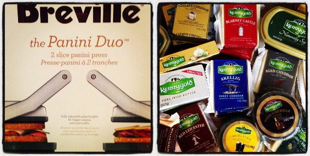 Breville panini press and assortment of Kerrygold cheeses