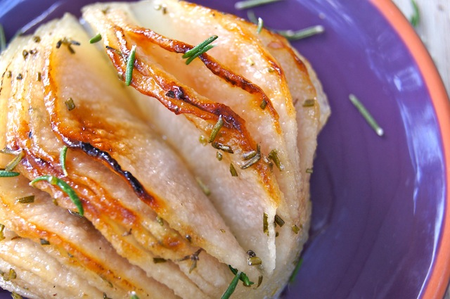 Rosemary Roasted Hasselback Korean Pear