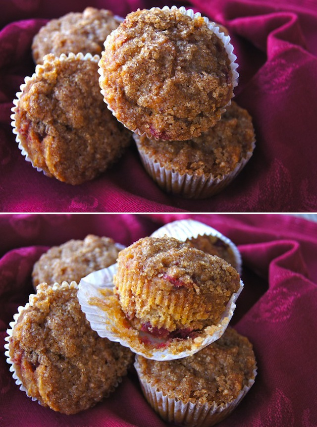 Gluten-Free Spiced Cranberry Sauce Muffins on a burgandy cloth napkin