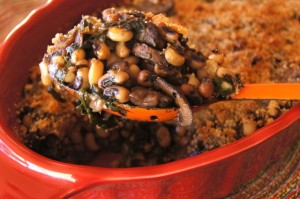 New Year's Hoppin' John Black-Eyed Pea-Spinach and Mushroom Gratin Recipe