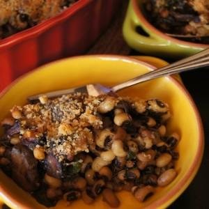 New Year's Hoppin' John Black-Eyed Pea-Spinach and Mushroom Gratin Recipe
