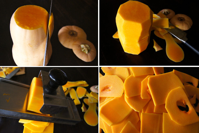 four directional photos of how to cut the squash for the Butternut Squash Lasagna