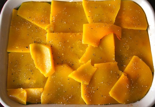 Layer of thinly sliced and steamed butternut squash in baking dish