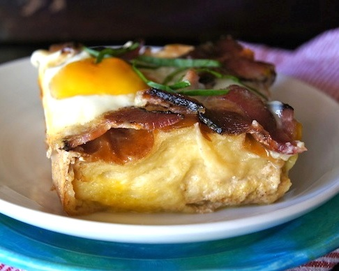 Buttermilk Baked French Toast with Bacon and Eggs