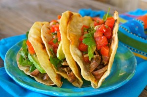 Pickled Tomato-Pulled Pork Tacos