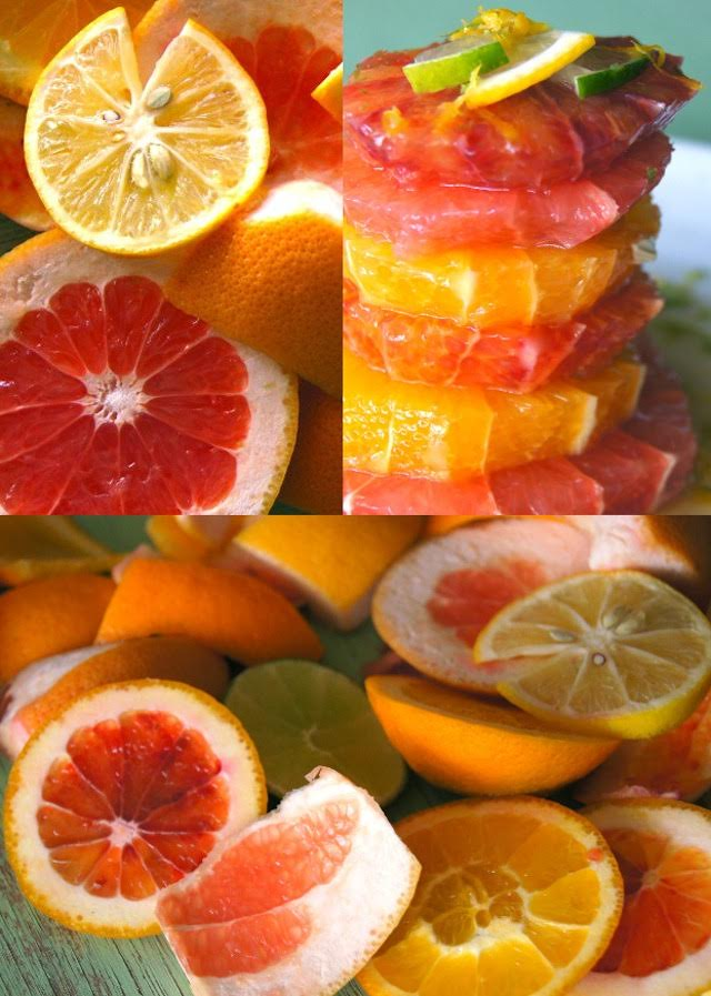 Photo grid of slices of citrus including grapefruit, blood orange orange and lemon.