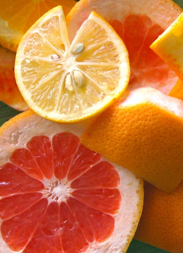 Slices of lemon, grapefruit for Spicy Honey Citrus Salad Recipe