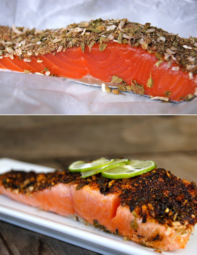 2 salmon images with spices on top - one raw and one cooked