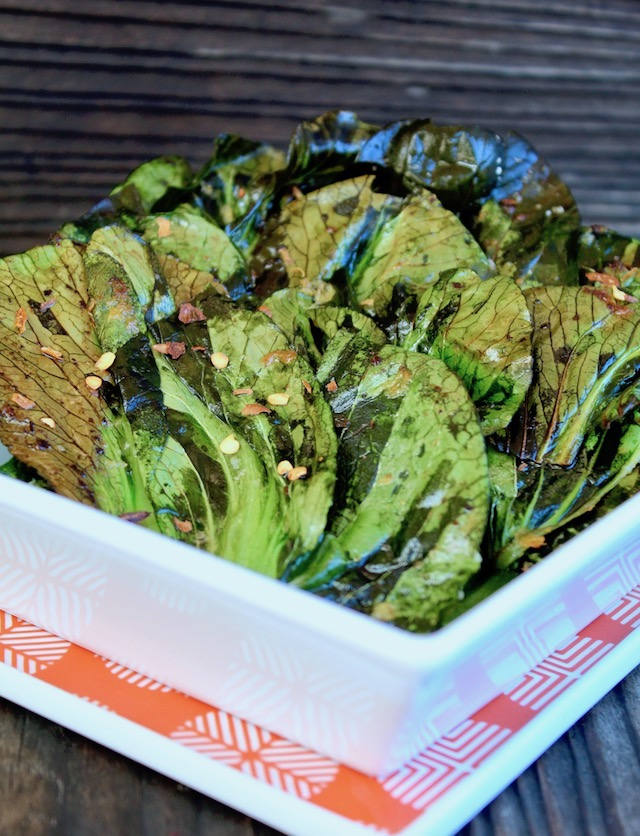 bok choy chips in square white dish