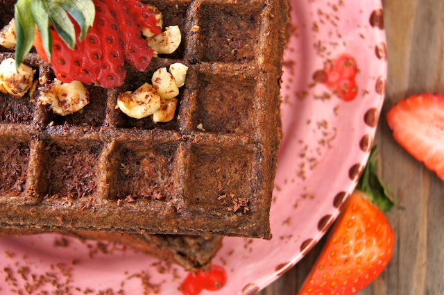 Valentine's Day Chocolate-Banana Hazelnut Waffles