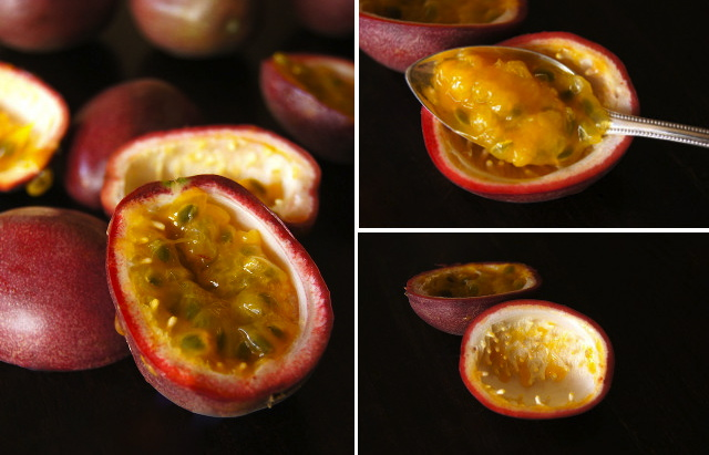 passion fruits cut in half, inside of passion fruit in a spoon, empty passion fruit skins