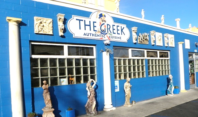 Picture of a Greek restaurant painted bright blue