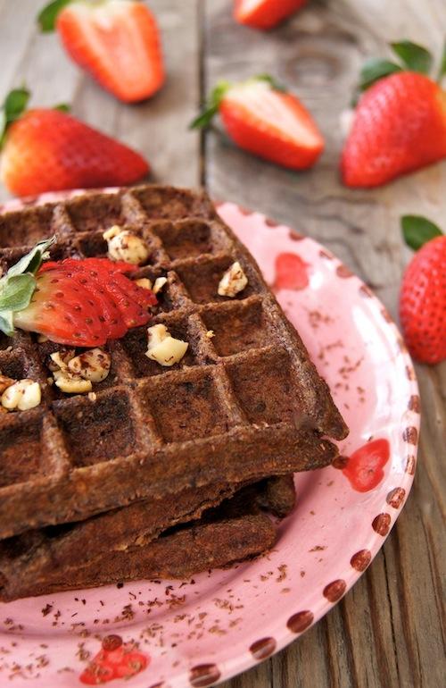 Chocolate-Banana Hazelnut Waffles {Gluten-Free }