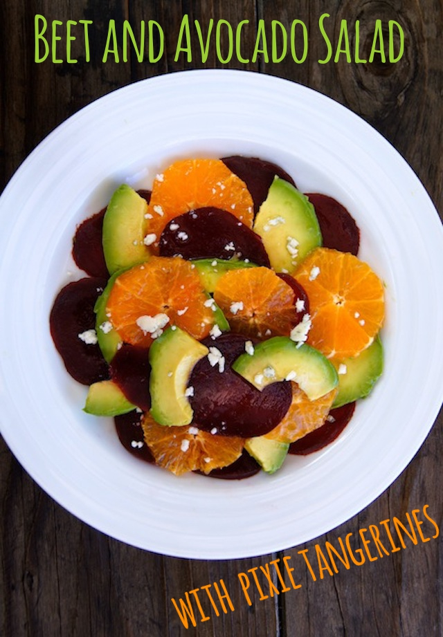Beet and Avocado Salad with Pixie Tangerines on a white plate