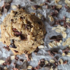 top view of small stack of cookies with cacao nibs and oats