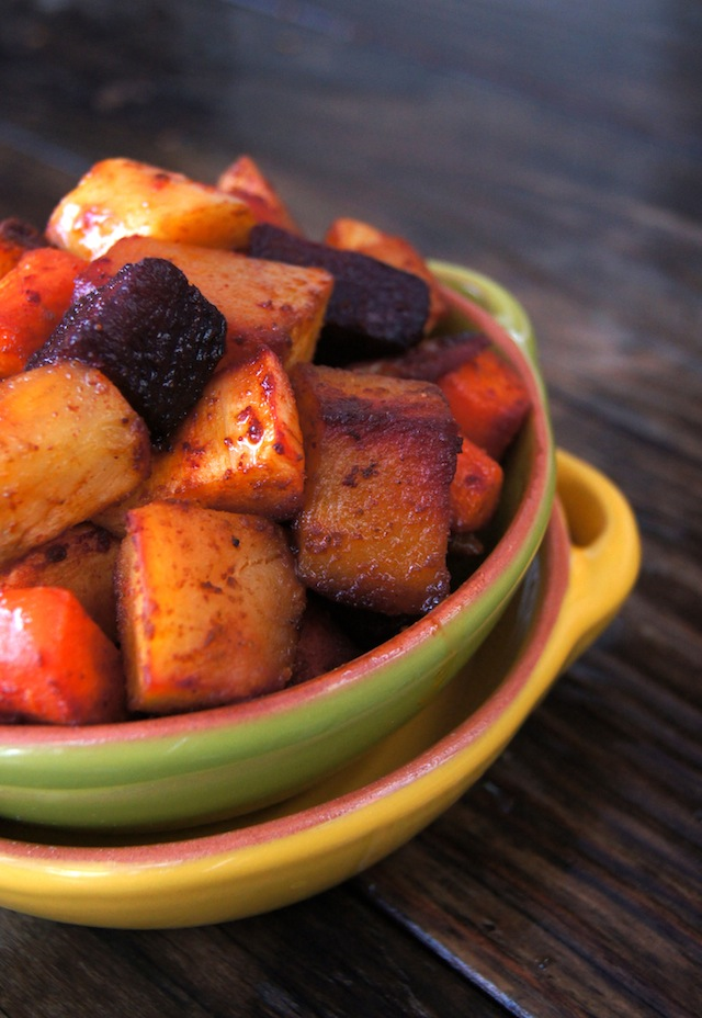 Smoky Cumin Roasted Root Vegetables in a green bowl