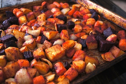 Smoky Cumin Roasted Root Vegetables on a baking sheet