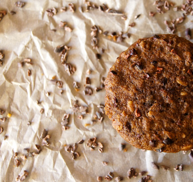 Breakfast Cookies surrounded by cocoa nibs