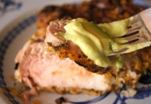 Spiced Tortilla Chip Crusted Pork Chop Recipe with Avocado-Lime Sauce | cookingontheweekends.com