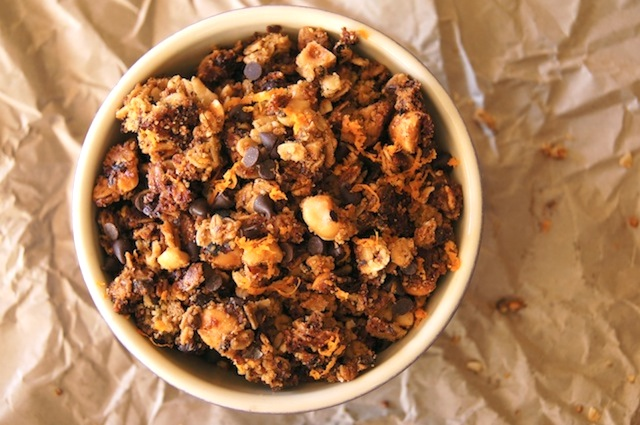 toop view of a bowl of chocolate hazelnut granola