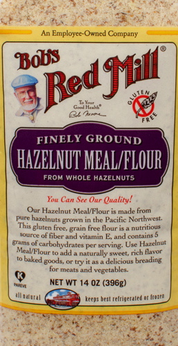 Package of Bob's Red Mill Hazelnut meal.